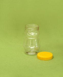 Plasticna teglica za med, oblik pcele 370 ml, pet